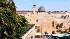 Al Aqsa Mosque, the third holiest site in Islam and Mount of Olives - stock footage