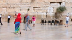 Unidentified jewish worshipers  near the Western Wall . Jerusalem. Israel - stock footage