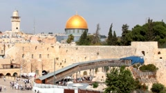 Western Wall   an important jewish religious site and Gold dome Stock Footage