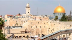 Western Wall   an important jewish religious site and Gold dome - stock footage