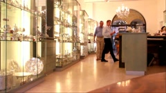 Unidentified  tourists in Judaica shop at large mall on Mamilla street Stock Footage