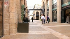 Mamilla street -open-air shopping mall in Jerusalem, Israel. Stock Footage