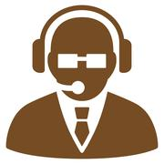 Support Manager Flat Icon Stock Illustration