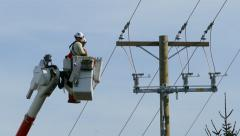 City Hydro Linemen Tightening Bolt Stock Footage