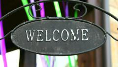 Welcome home sign.  Invitation to the house. Stock Footage