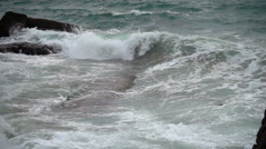 Strong storm surge current washing into inlet - stock footage