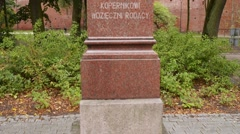 Bust of Nicolaus Copernicus in Olsztyn, Poland Stock Footage