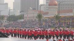 Pirate dressed actors wave flag,Kuala Lumpur,Malaysia - stock footage