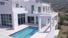 Modern villas with swimming pools Stock Footage