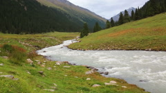 Altyn Arashan mountain river valley Kyrgyzstan Stock Footage