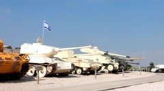 Battle tanks captured by IDF at Latrun  Armored Corps Museum. Israel. Stock Footage