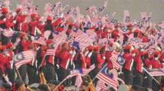 Red uniformed flag show,Kuala Lumpur,Malaysia Stock Footage