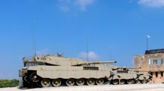 Israel made main battle tanks Merkava  on display at Armored Corps Museum Stock Footage