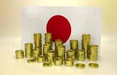 Golden coins and Japanese flag Stock Illustration