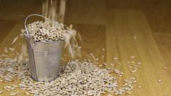 Fall into a bucket of sunflower seeds and on wooden floor Stock Footage