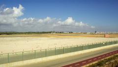 4K Pan Timelapse Faro Airport Track Cloudscape, Algarve Stock Footage