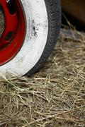 Whitewall car tire - stock photo