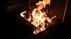Big yellow fire, at a barbeque, in a restaurant Stock Footage