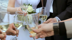 Drinking of alcoholic beverages by a group of people. Stock Footage