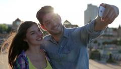 Couple in love are making a selfie Stock Footage