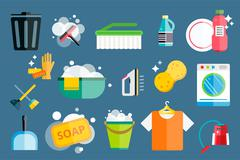 Cleaning icons vector set clean service Stock Illustration