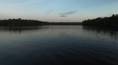 Low Glide Forward Over Water Evening (60p) - Au Sable River, Oscoda Michigan. Stock Footage