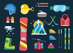 Winter sport vector icons set - stock illustration