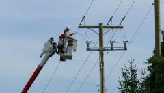 City Hydro Linemen Preparing To Attach Cable - stock footage