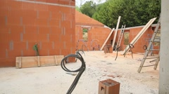 View of house under constuction Stock Footage