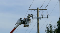 City Hydro Linemen Using Drill Stock Footage