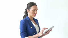 4k Happy Sexy Caucasian Business woman working on Tablet Technology - stock footage