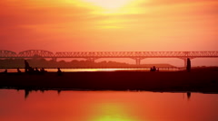 Amazing sunset and local people on Irrawaddy river. Myanmar Stock Footage