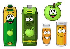 Cartoon green apple juice packs and fruit - stock illustration