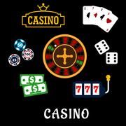Stock Illustration of Casino flat icons with gambling symbols
