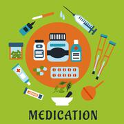 Medication icons with drugs and tools - stock illustration