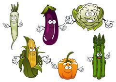 Cartoon organic farm vegetables characters - stock illustration