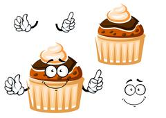 Muffin with chocolate glaze and cream - stock illustration