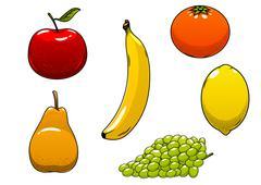Fresh juicy and ripe isolated fruits - stock illustration