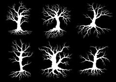 Dead old trees silhouettes with roots Stock Illustration