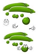 Cartoon sweet green pea vegetable Stock Illustration