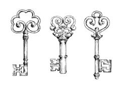Sketch of vintage keys with curly elements Piirros