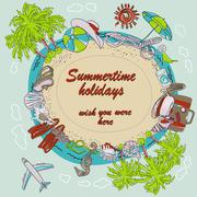 Summertime round frame - vector - stock illustration