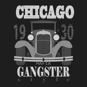 Chicagol t-shirt graphic design. Gangster style - stock illustration