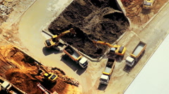Excavators and tipper tracks working at construction. Hong Kong - stock footage