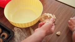 Womens Forming Cookies Vanillekipferl On A Table Stock Footage