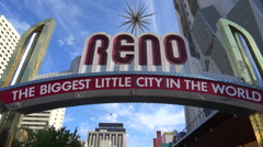 Reno Nevada gateway arch welcomes visitors to the biggest little city in the Stock Footage