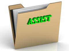 ASSIST- bright letters on a gold folder on a white background - stock illustration