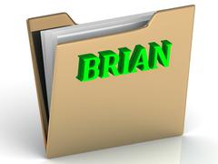 BRIAN- Name and Family bright letters on gold folder on a white background Stock Illustration