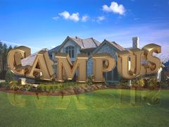 CAMPUS- inscription of bright gold letters on garden and house Piirros
