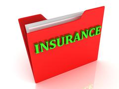 INSURANCE bright green letters on a red folder on a white background - stock illustration